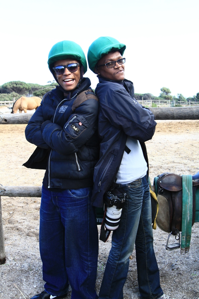 Pako and Scar all manly before horse riding